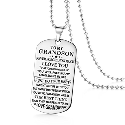 Stashix To My Grandson Never Forget How Much Love You Grandma Grammie Nana Grammy Dog Tags Pendant Necklace Birthday Gift Jewelry Graduation Military Birthday Anniversary Personalized by Stashix (Image #4)