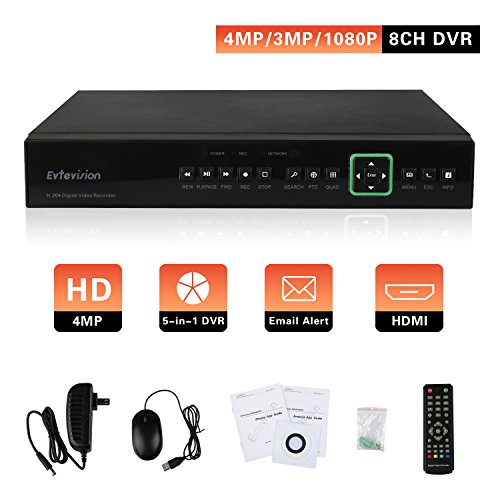 Evtevision 8 Channel 4MP/3MP/1080P DVR Security Standalone Video Recorder, Support 8CH 4MP/3MP AHD DVR, 5-in-1 1080P (CVI/TVI/AHD/IP) & Analog 960H, Hard Drive NOT Included, Remote Smartphone - Alone Stand Dvr Mobile