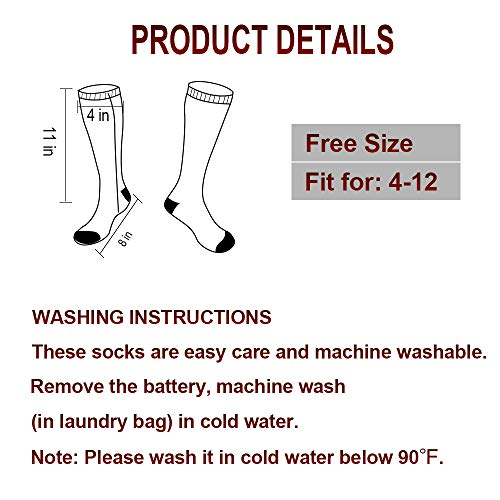 XBUTY Heated Socks for Men/Women - Upgraded Rechargeable Electric Socks with 4800mAh Large Capacity Battery- Up to 16 Hours of Heat, Upgrade Heating Element up to 160℉, 3 Heat Settings