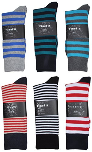 Fine Fit Men's Dress Socks Designer Stripes Size 10-13 (6 Pair Blue Red Grey) (Red Fine Stripe)
