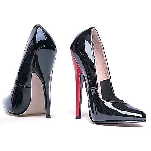 Womens 6 Inch Heel Fetish Pump Black//Red;13