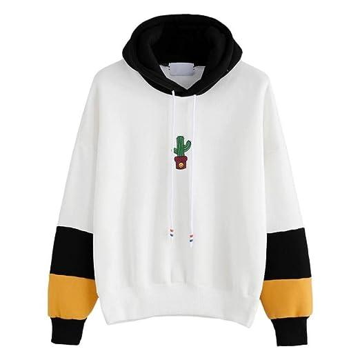 Wintialy Womens Long Sleeve Hoodie Cactus Print Sweatshirt Hooded Pullover Tops Blouse (Black, S