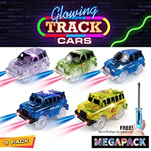 Track Cars [5 MEGA PACK] w/5 Led Light Up Replacement Glow-In-The-Dark Car |Track Accessories| Police Car, 2-Dinosaur School Bus, 2-Army/Sports Car, Compatible With Magic Tracks N Other Track Boy Girl