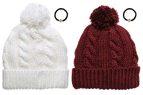 Women's Cable Knitted Fleece Lined Pom Pom Beanie Hat with MirMaru Hair Tie.(WHITE & BURGUNDY) by Newhattan