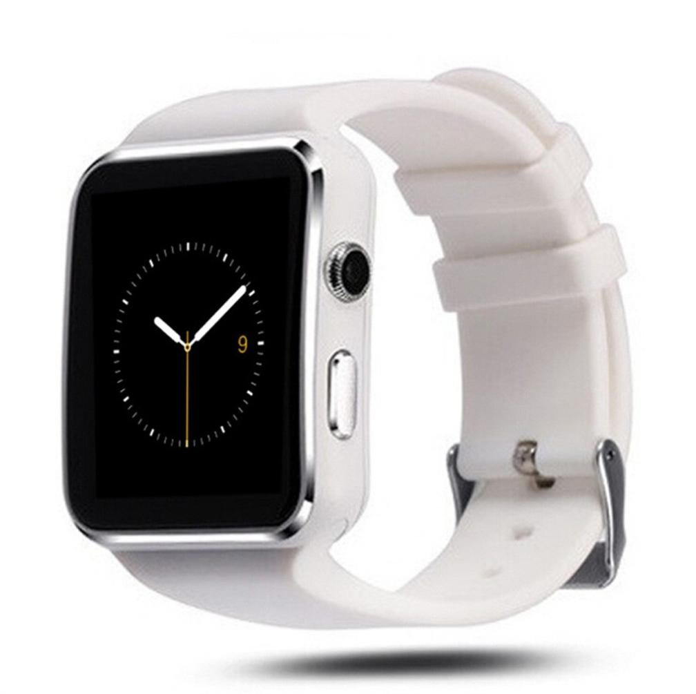Curved Mate Waterproof SIM X6 Bluetooth Smart Wrist Watch Phone for Android IOS Samsung, White/Black (White)