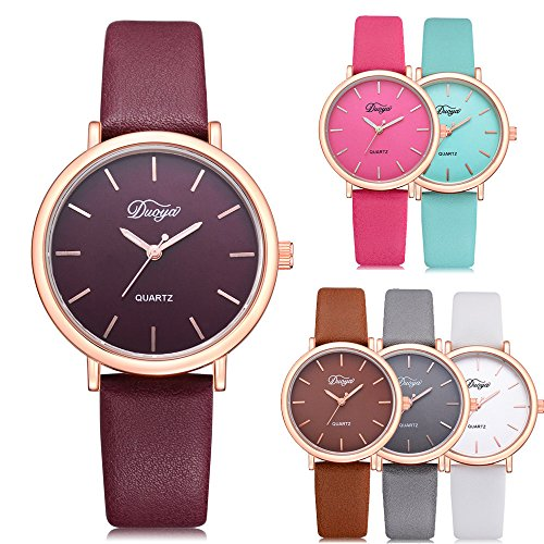 Womens Watches on Sale Clearance COOKI Women's Ladies Teen Girls Couple Fashion Dress Wrist Quartz Watch with Leather Band Casual Simple Analog Quartz Watches Classic Wristwatch X69