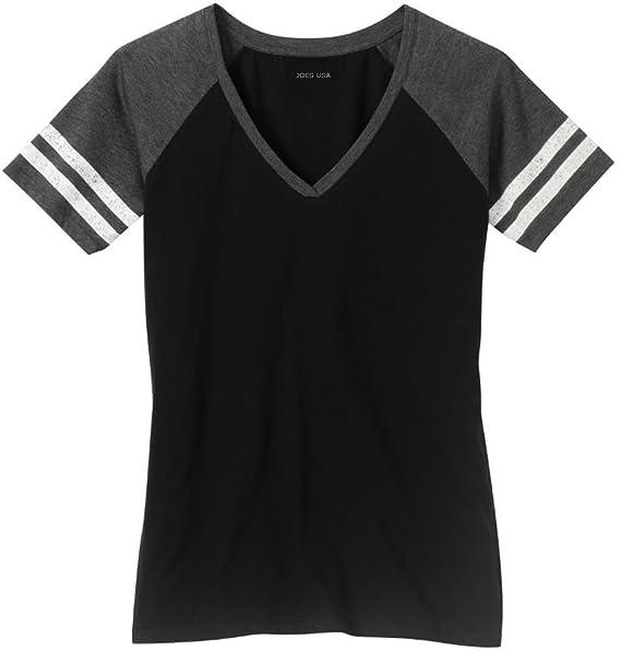 908e8fce84b Joe s USA Ladies Distressed Retro V-Neck T-Shirt-Black Charcoal-XS