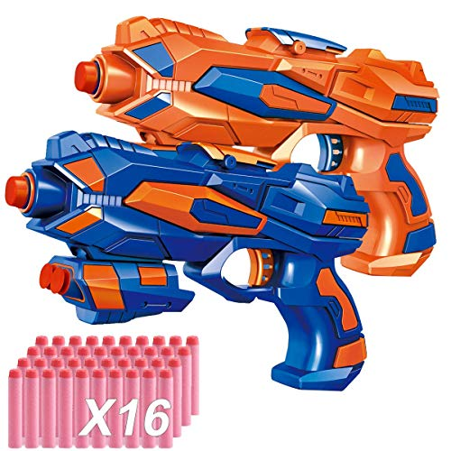 POKONBOY 2 Pack Blaster Guns with 16 PCS Soft EVA Bomb for Kids Hand Gun Toy Blaster Gun -