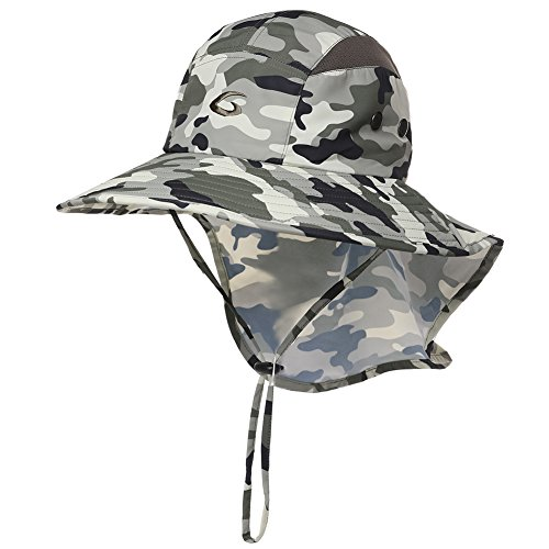 7f1ea6cfd3e Protection Quick Mens Hiking Cap Lightgreen camo Hat Unisex Wide Uv Flap  Siggi Cover Neck With ...