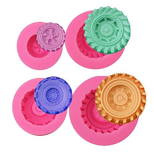 Mity Rain 3D Round Tire Fondant Mold-Truck Wheel Shape Silicone Mold for Sugarcraft Cake Decoration, Chocolate, Candy, Polymer Clay, Soap, Jelly etc-Set of 4 (Tire Cake Mold)