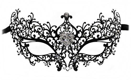[Dorian Laser-Cut Metal Black Venetian Masquerade Mask for Women w/Rhinestone brooch] (Masquerade Masks Metal)