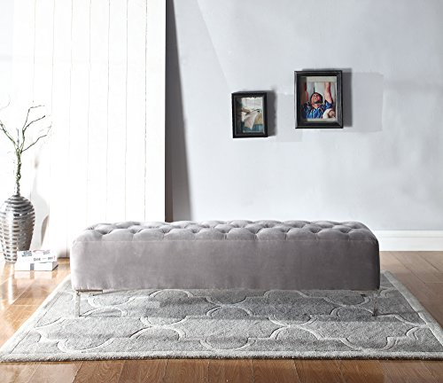 - Emerald Home Furnishings Lacey Silver Gray Upholstered Bench with Button Tufting