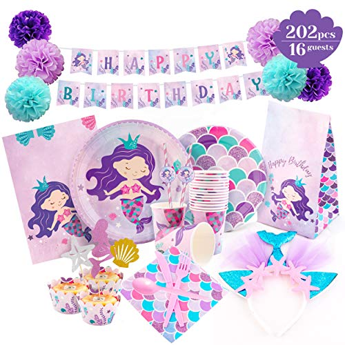 Joyful Toys Mermaid Party Supplies - Mermaid Birthday Decorations Set Happy Birthday Banner | Plates | Headband | Cups | Napkins | Tablecloth | Forks | Knives | Cupcake Wrappers & Toppers | Serves 16]()