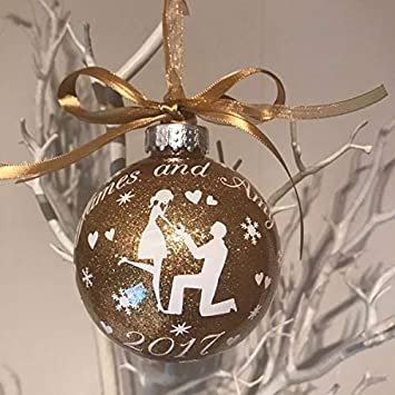 88ef0258f3857 Kiddiewinkle Gifts Luxury Handmade Glitter Personalised Engagement Bauble,  Tree Decoration for Newly Engaged Couple,