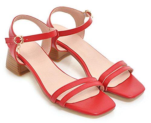 Bureau Boucle Sandales Aisun Ouvert Femme Rouge Classique Basse Bout YwqSw5R