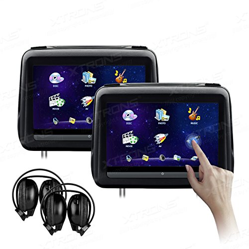 XTRONS 10.1 Inch HD Digital Touch Screen Leather Cover Single Car Headrest DVD Player 1080P Video with HDMI Port IR Headphones