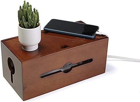 Madera Cable Administración Caja Cable Organizador con Desmontable Tapa, Tallado Flor Enchufe Tablero Caja de Almacenamiento para TV USB Hub Sistema a Funda Potencia Strips&cords - Nogal, L: Amazon.es: Bricolaje y herramientas