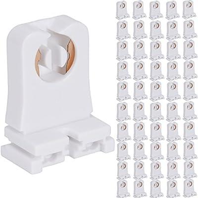 Non-shunted Turn Type T8 Lamp Holder JACKYLED 50-Pack UL Socket Tombstone for LED Fluorescent Tube Replacements Medium Bi-pin Socket for Programmed Start Ballasts