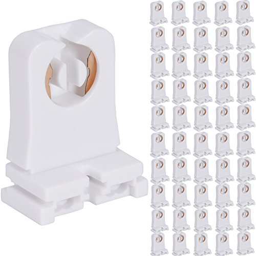 Non-shunted Turn Type T8 Lamp Holder JACKYLED 50-Pack UL Socket Tombstone for LED Fluorescent Tube Replacements Medium Bi-pin Socket for Programmed Start - Studio Single T Light 1