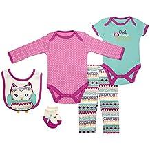 Baby Gear 5Pc Newborn Girl Character Long & Short Sleeve Bodysuits & Pant Set