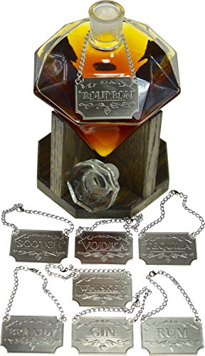 Liquor-Decanter-Tags-Labels-Set-of-Eight-Silver-or-Copper-Available-Whiskey-Bourbon-Scotch-Gin-Rum-Vodka-Tequila-and-Brandy-Silver-Colored-Adjustable-Chain-for-the-Perfect-Fit-Silver