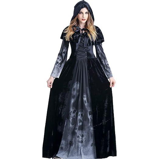 Reuvv Halloween Femenino Muerte Vestido, Bata con Capucha ...