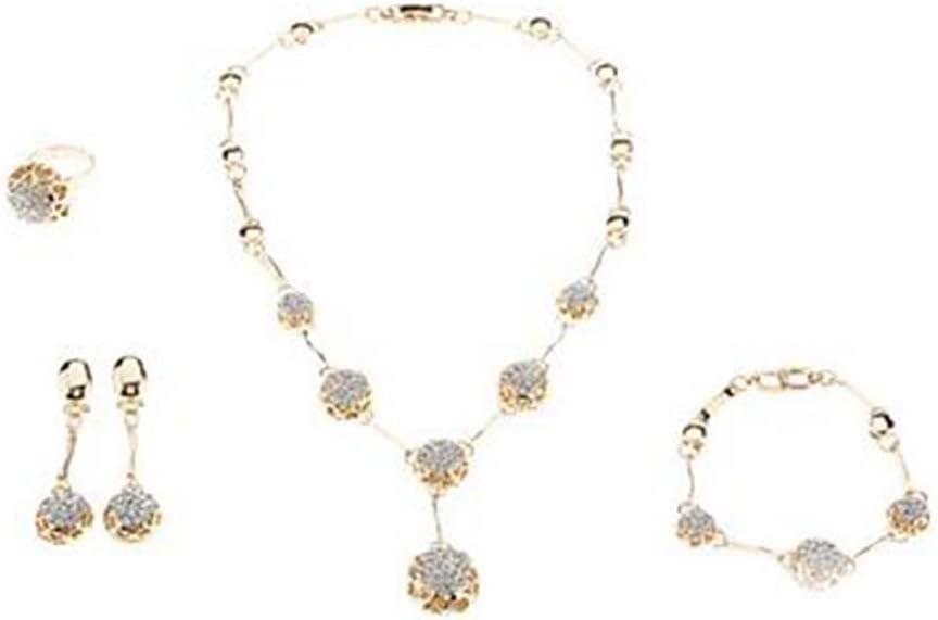 GYJUN Bola Plateado Oro Diamantes Joyas de Las Mujeres Conjunto (Anillo de Collar Pendientes y Pulsera)