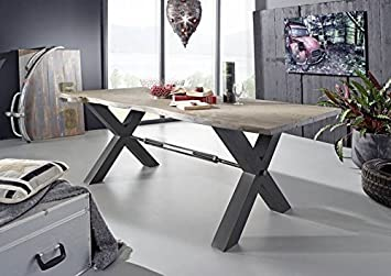 Hochwertig DE Esstisch Akazie 180x100x76 Grau Lackiert Black Label #115 Modern Metall