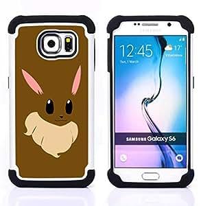 For Samsung Galaxy S6 G9200 - Bunny Anime Rabbit Big Ears White Pink Art /[Hybrid 3 en 1 Impacto resistente a prueba de golpes de protecci????n] de silicona y pl????stico Def/ - Super Marley Shop -