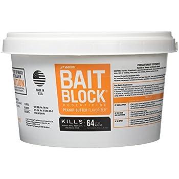 JT Eaton 704-PN Bait Block Rodenticide Anticoagulant Bait, Peanut Butter Flavor, For Mice and Rats (Pail of 64)