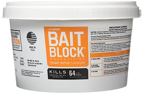 JT Eaton 704-PN Bait Block Rodenticide Anticoagulant Bait, Peanut Butter Flavor, For Mice and Rats (Pail of 64) by J T Eaton