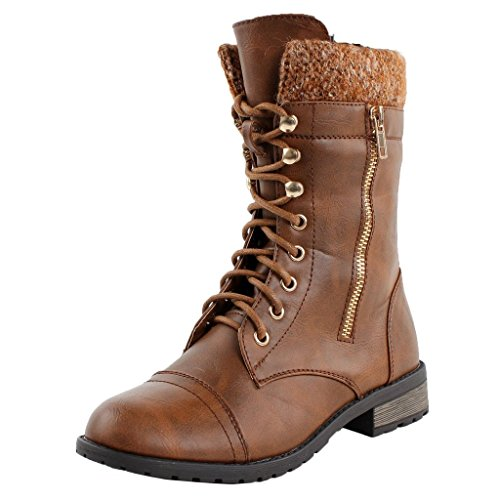 Forever Link Womens Mango-31 Round Toe Military Lace Up Knit Ankle Cuff Low Heel Combat Boots Tan IlBZfbiVGQ