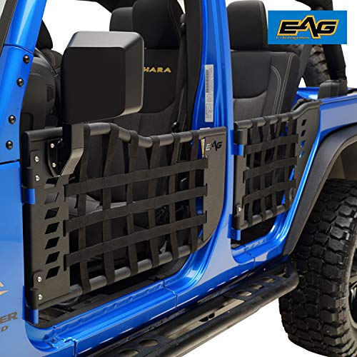 EAG Matrix Tubular Door with Side View Mirror Fit for 07-18 Jeep Wrangler JK 4 Door Only (Place To Be Cant Stop Wont Stop)