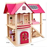 OZSOY Wooden Dollhouse Furniture Set Including Kitchen Bathroom Bedroom Kid Room for Dollhouse Pink Color