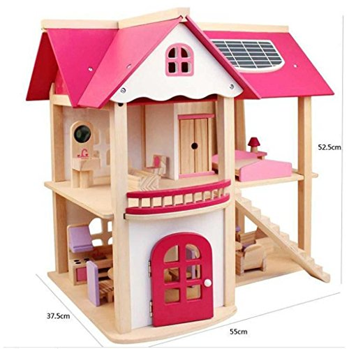 OZSOY Wooden Dollhouse Furniture Set Including Kitchen Bathroom Bedroom Kid Room for Dollhouse Pink Color by OZSOY