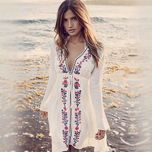 Los bordados de la playa bikini de abrigo de manga larga blusa camisa vestir ropa de protección de trajes de baño de playa de la isla U601 fondo blanco y negro bordado
