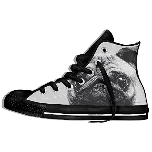 Classic High Top Sneakers Canvas Shoes Anti-Skid Dog Pug Casual Walking For Men Women Black atHWnUR