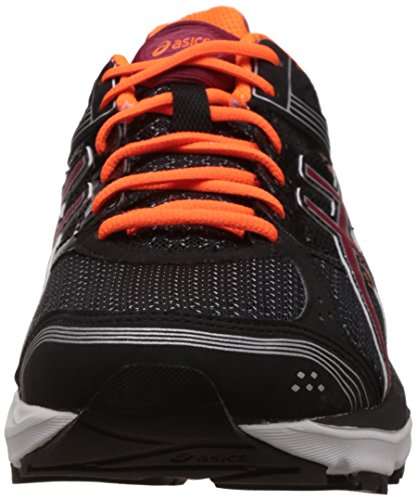 Asics Men's Gel Pulse 7 Black, Deep Ruby and Hot Orange Mesh Running Shoes - 10 UK