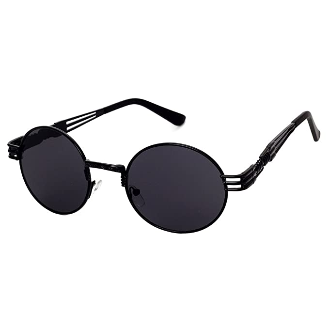 768fb9da0f9b6 GAMT Retro Metal Hipster Steampunk Round Style Coating Sunglasses Black-grey