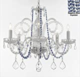 AUTHENTIC ALL CRYSTAL CHANDELIER CHANDELIERS LIGHTING WITH SAPPHIRE BLUE CRYSTALS! PERFECT FOR LIVING ROOM, DINING ROOM, KITCHEN, KID'S BEDROOM! H25'' W24''