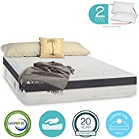 15 inch Aloe Vera Gel Memory Foam Mattress - Cool & Gel Infused - Triple-Layer - Certipur-US Certified - Medium Comfort Level - 20-Year Warranty - King Size - Free 2 Pillows
