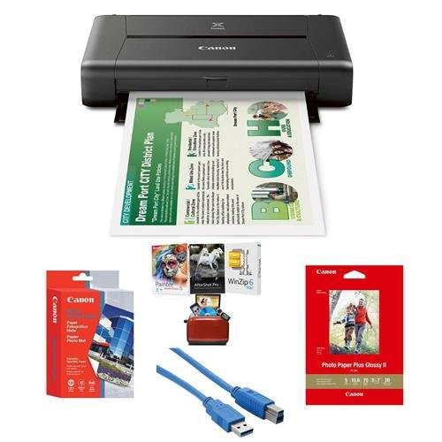 Canon PIXMA iP110 Wireless Mobile Inkjet Color Photo Printer - Bundle with Mac Software Package, Canon Glossy Photo Paper (5x7in), 20 Sheets, Canon Matte Photo Paper (4x6in), 20 Sheets, USB Cable 6' (Matte Photo Paper 4x6)