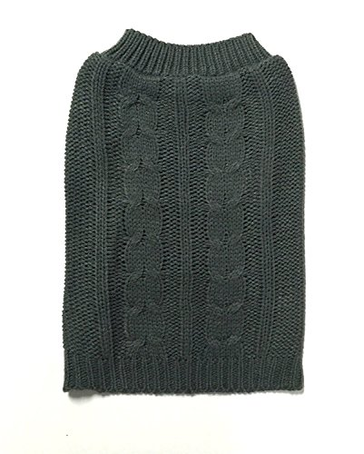Midlee Cable Knit Dog Sweater by (XX-Large, Gray) (Gray Dog Knit Sweater)