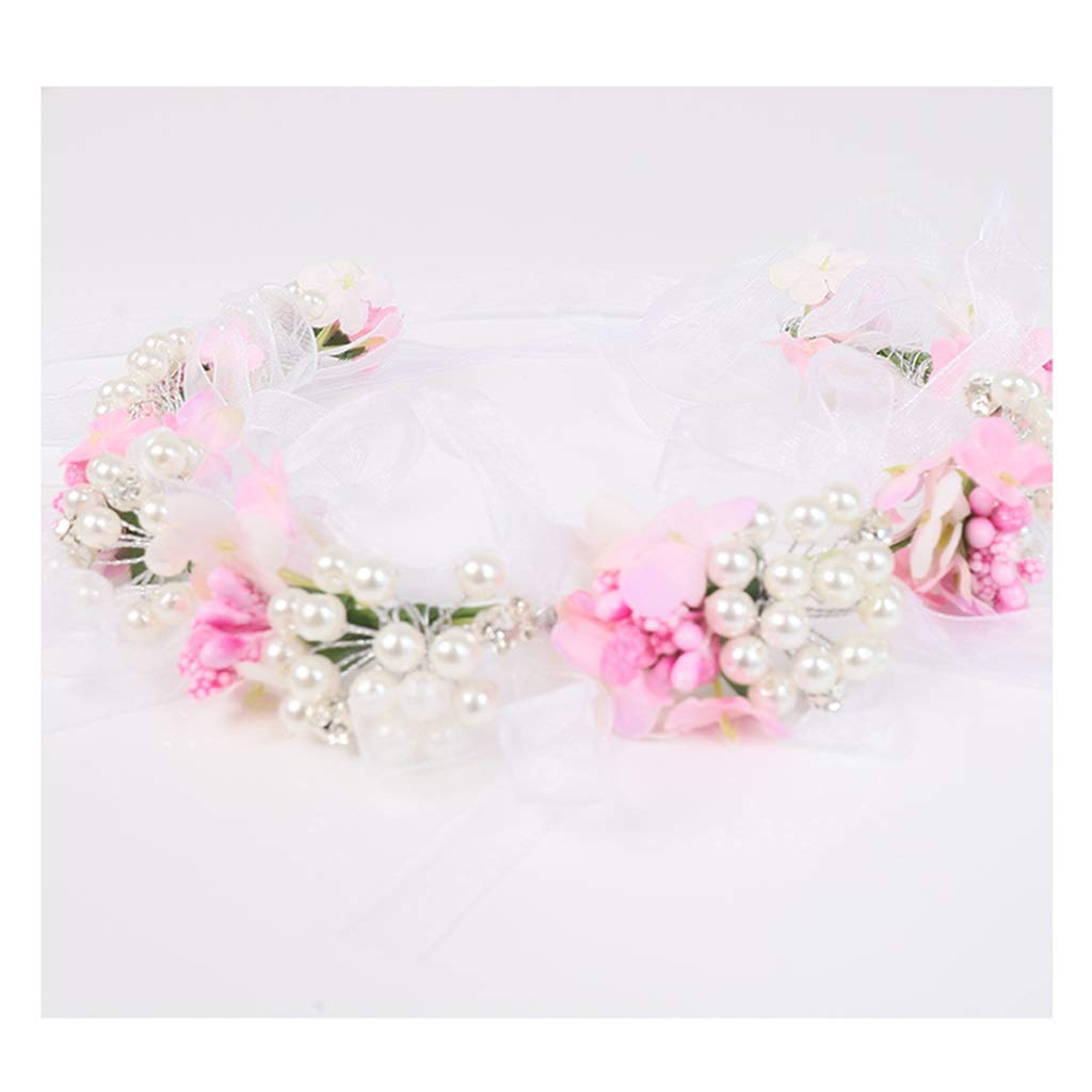 Wreath Flower Wedding Girl Head Flower Pink Hair Accessories Children Hair Band Headband Performance Head Jewelry