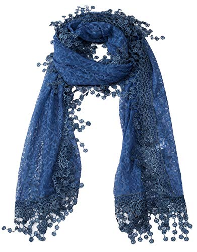Women#039s lightweight Feminine lace teardrop fringe Lace Scarf Vintage Scarf Mesh Crochet Tassel Cotton Scarf for Women Denim Blue with Fringes