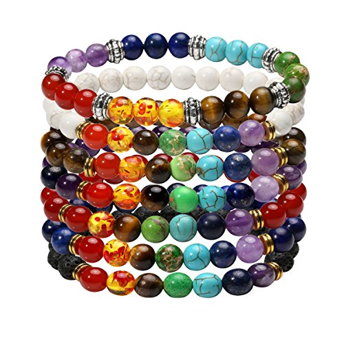 Eigso 7 Pcs 7 Chakra Bracelets Set for Women Men Reiki Healing Meditation Lava Rock Stone Crystal Beads ()