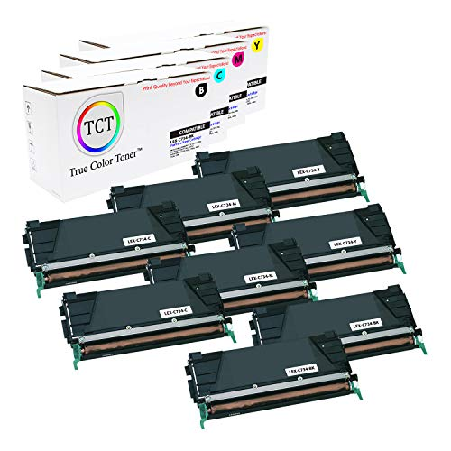 (TCT Premium Compatible Toner Cartridge Replacement for Lexmark C734 C734A1KG C734A1CG C734A1MG C734A1YG Works with Lexmark C734 C736 C738 X734 X736 Printers (Black, Cyan, Magenta, Yellow) - 8 Pack)
