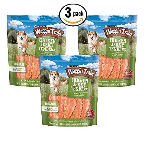 3 pk Waggin Train Chicken (breast) Jerky Tenders 3oz ea Re-sealable bag Dog Treat
