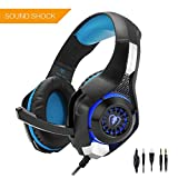 Beexcellent GM-1 Gaming Headset for PS4 Xbox one PC, Beexcellent Stereo Sound Over Ear Headphones with Noise Isolation Mic Volume Control and LED Light for Laptop Mac iPad Smartphone