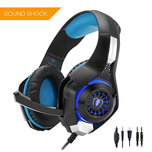 Beexcellent GM-1 Gaming Headset for PS4 Xbox one PC, Beexcellent Stereo Sound Over Ear Headphones with Noise Isolation Mic Volume Control and LED Light for Laptop Mac iPad Smartphone by Unknown